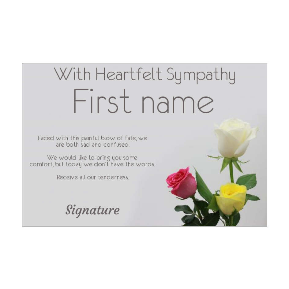 Card Condolences Flower Rose Yellow Red free template ...
