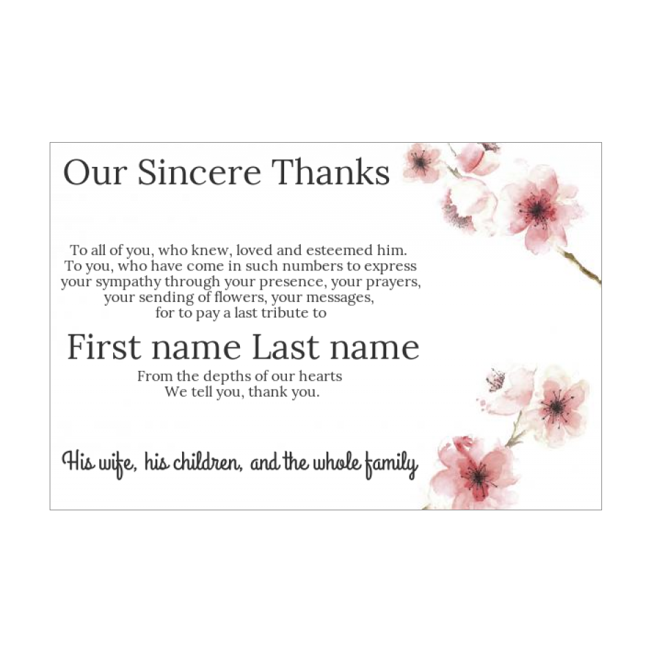 Card Thanks Death Condolences Flower Rose free template (card 21) In Death Anniversary Cards Templates