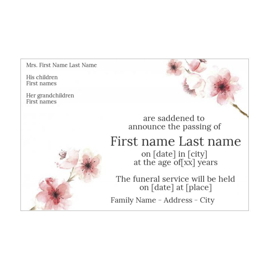 Announcement Death Flower Rose Drawing free template (card 21) Intended For Death Anniversary Cards Templates