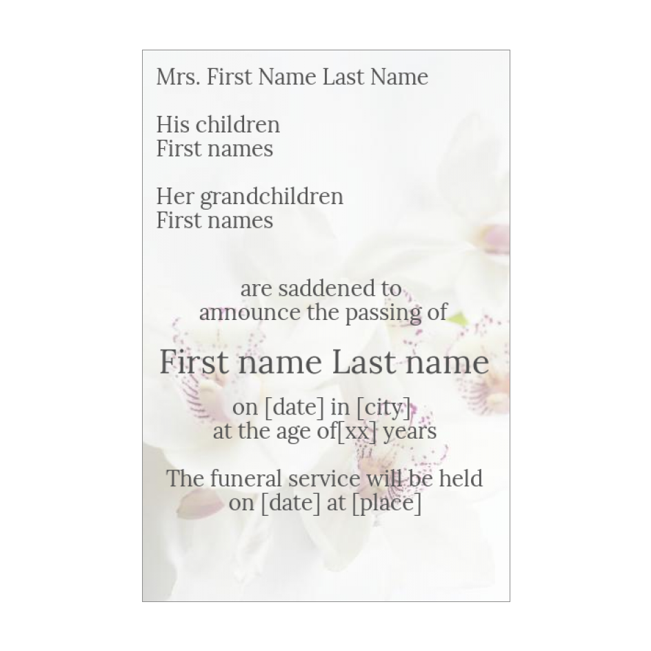 Announcement Death Flower White free template (card 21) Within Death Anniversary Cards Templates